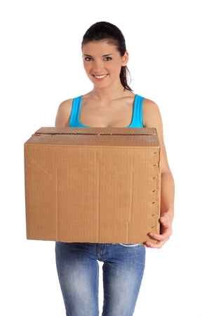 Attractive woman carrying moving box. All on white background