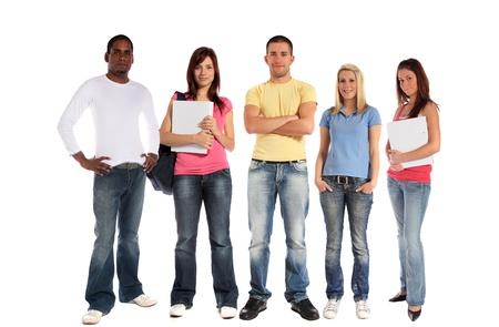 tolerancia: Un grupo de cinco j�venes. Todo sobre fondo blanco.  Foto de archivo
