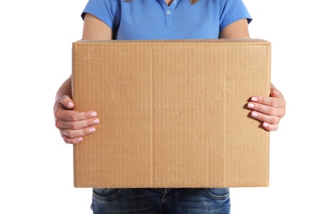 Torso of a female person holding a moving box. All on white background.  photo