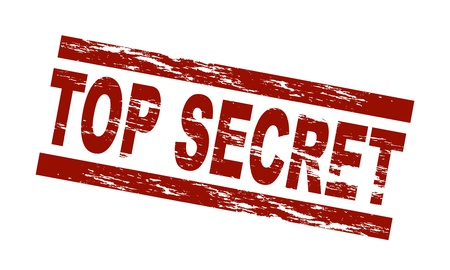 classified: Stylized red stamp showing the term top secret. All on white background. Stock Photo