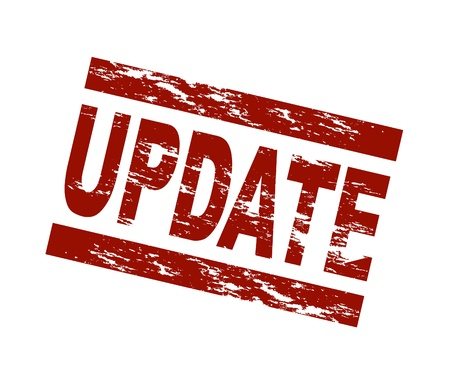 update: Stylized red stamp showing the term update. All on white background.