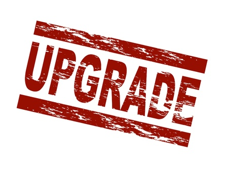 expansion: Stylized red stamp showing the term upgrade. All on white background.
