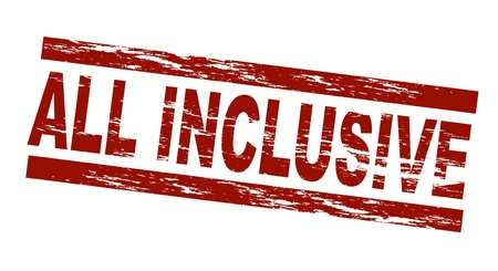 inclusive: Stylized red stamp showing the term all inclusive. All on white background.  Stock Photo