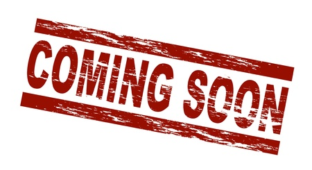coming: Stylized red stamp showing the term coming soon. All on white background.