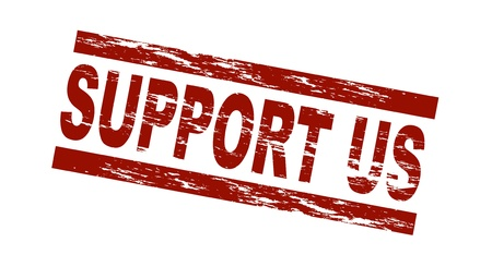 endorsement: Stylized red stamp showing the term support us. All on white background.