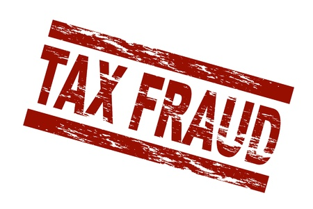 fiscal: Stylized red stamp showing the term tax fraud. All on white background.  Stock Photo