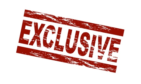 exclusive: Stylized red stamp showing the term exclusive. All on white background.