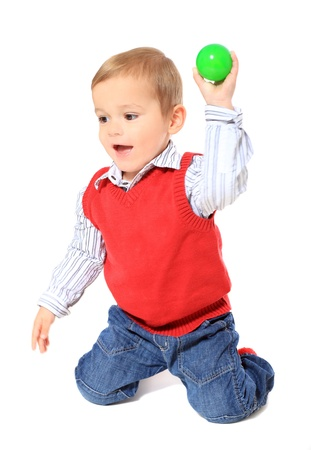 clowning: Cute caucasian toddler clowning around. All on white background.  Stock Photo