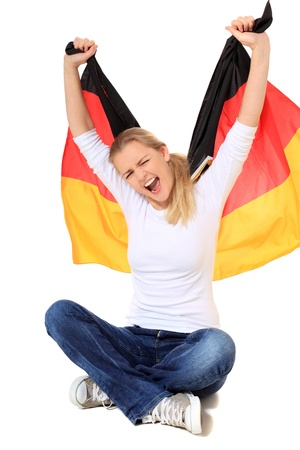 germany flag: Attractive blonde woman. All on white background.