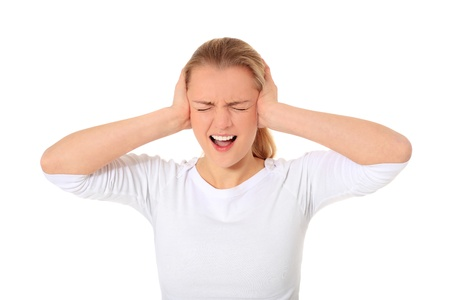 scandinavian people: Attractive blonde woman suffering from too much noise. All on white background.