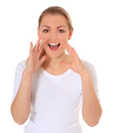exclaim: Attractive blonde woman shouting out loud. All on white background.  Stock Photo