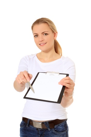 stocktaking: Attractive blonde woman doing a signature campaign. All on white background.  Stock Photo