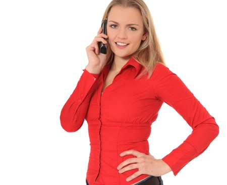 Attractive blonde woman making a phone call. All on white background. Stock Photo - 8588079