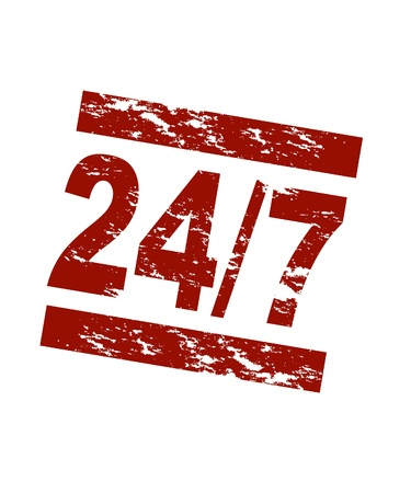 unclosed: Stylized red stamp showing the term 247. All on white background.