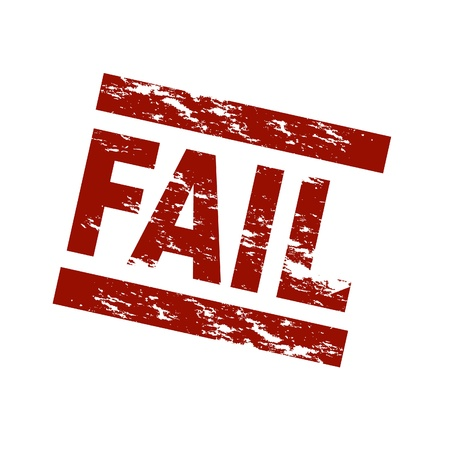 Stylized red stamp showing the term fail. All on white background. photo