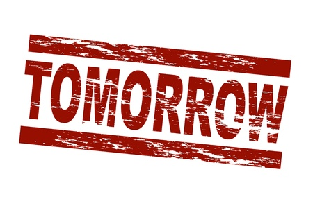 term: Stylized red stamp showing the term tomorrow. All on white background.