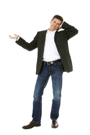 Attractive middle-aged man pointing to the side. All on white background. Stock Photo - 8824731