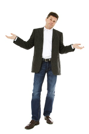 Baffled middle-aged man. All on white background.  Stock Photo - 8824712