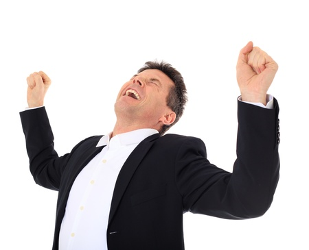 jubilating: Cheering middle-aged man. All on white background.