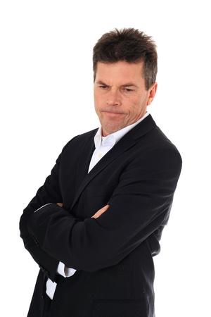alicaído: Hombre de mediana edad atractivo de humor estresado. Todo sobre fondo blanco.