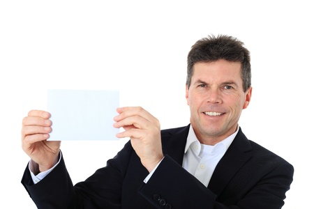 Attractive middle-aged man holding blank white card. All on white background. Stock Photo - 8824867