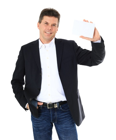 Attractive middle-aged man holding blank white card. All on white background. Stock Photo - 8824924