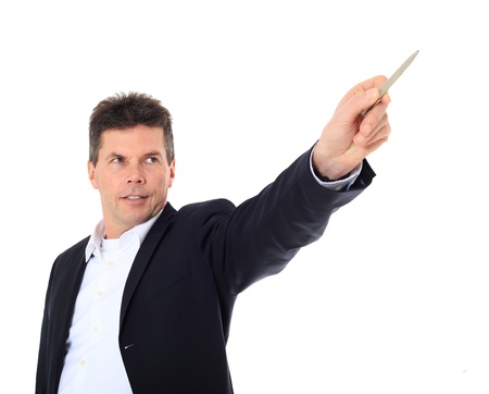 Attractive middle-aged man pointing to the side. All on white background.  Stok Fotoğraf
