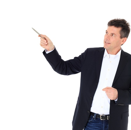 Attractive middle-aged man pointing to the side. All on white background.  photo