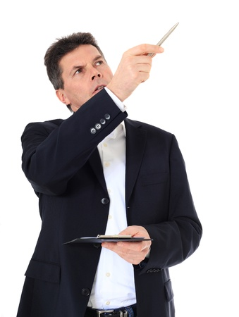stock listing: Attractive middle-aged man pointing to the side. All on white background.  Stock Photo