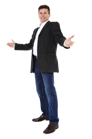 Attractive middle-aged man pointing to the side. All on white background. Stock Photo - 8824728