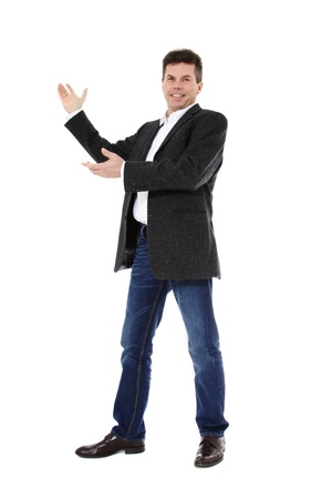 Attractive middle-aged man pointing to the side. All on white background. Stock Photo - 8824702