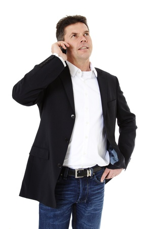 Attractive middle-aged man making a phone call. All on white background. Stock Photo - 8824744