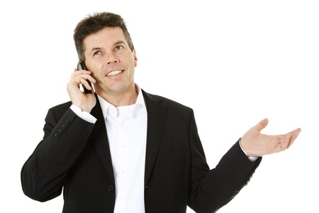 Attractive middle-aged man making a phone call. All on white background.  Stock Photo - 8824697