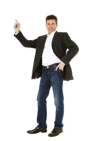 Attractive middle-aged man pointing to the side. All on white background. Stock Photo - 8824732
