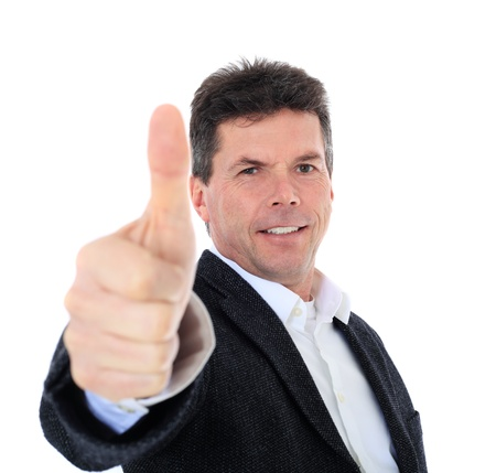 Attractive middle-aged man making thumbs up sign. All on white background.  Stock Photo - 8723083