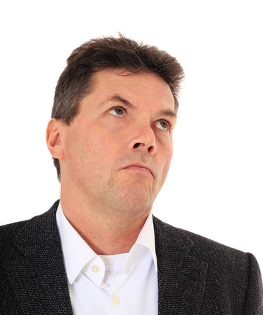 cogitate: Attractive middle-aged man deliberates a decision. All on white background.