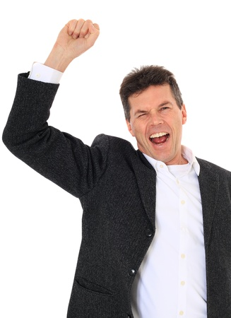 jubilate: Cheering middle-aged man. All on white background.