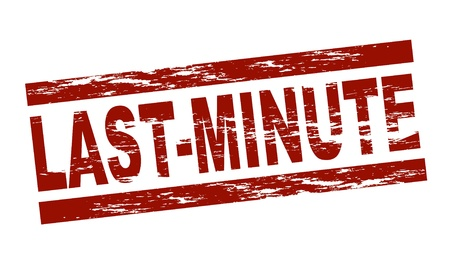 Stylized red stamp showing the term last-minute. All on white background.  Stock Photo