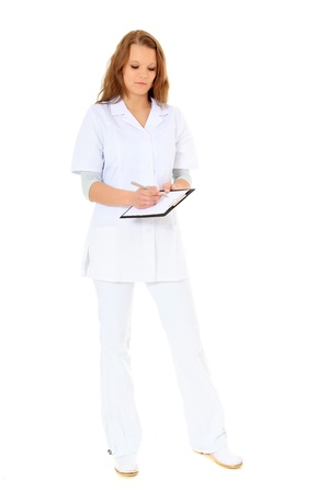 competent: Competent female doctor. All on white background.