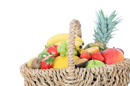 Basket full of various ripe fruits Stock Photo - 9472952