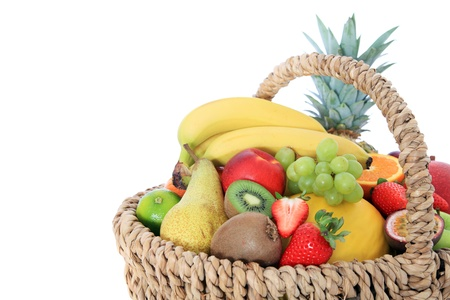 Basket full of various fruits photo