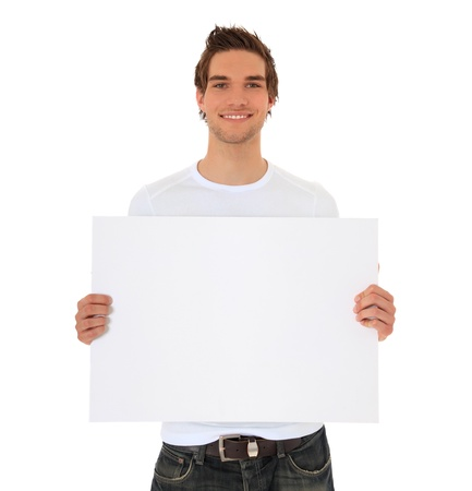 Attractive young man holding blank sign. All on white background. Stock Photo - 9779752