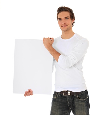 Attractive young man holding blank sign. All on white background. Stock Photo - 9779960