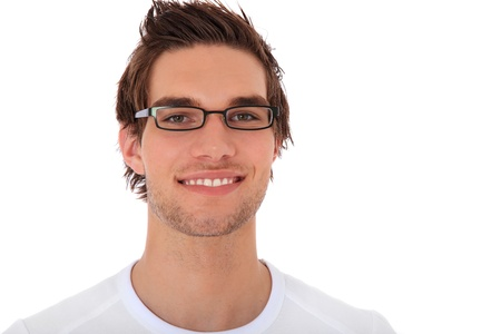 wearer: Attractive young man wearing glasses. All on white background.