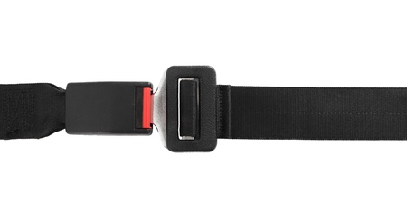 fastened: Fastened seat belt. All on white background.  Stock Photo