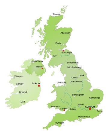 glasgow: Map of United Kingdom and Ireland.