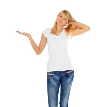 baffled: Baffled teenage girl. All on white background.  Stock Photo