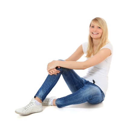 scandinavian people: Attractive young woman. All on white background.  Stock Photo