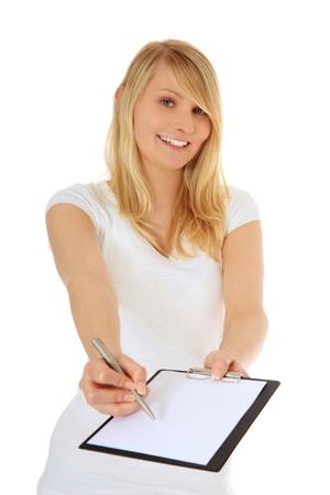censo: Atractiva adolescente haciendo una encuesta. Todo sobre fondo blanco.  Foto de archivo
