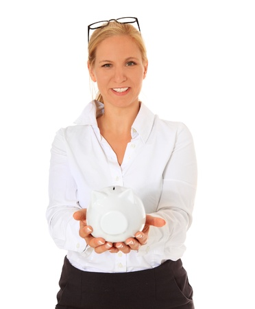 assistent: Woman holding piggy bank. All on white background.